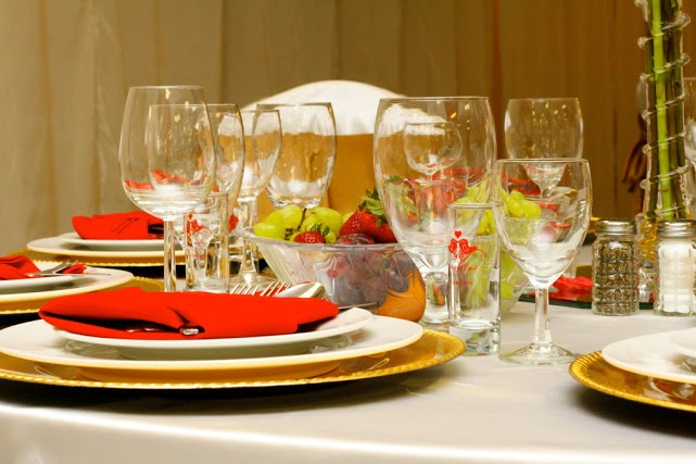 This photo features the dinnerware and glassware we offer, which you'll notice comes in various styles.