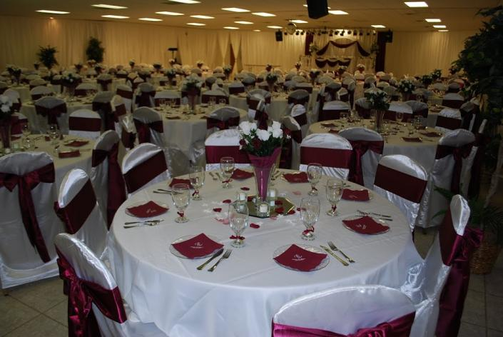 White Amp Burgundy Reception Wedding Linen Rental Gallery